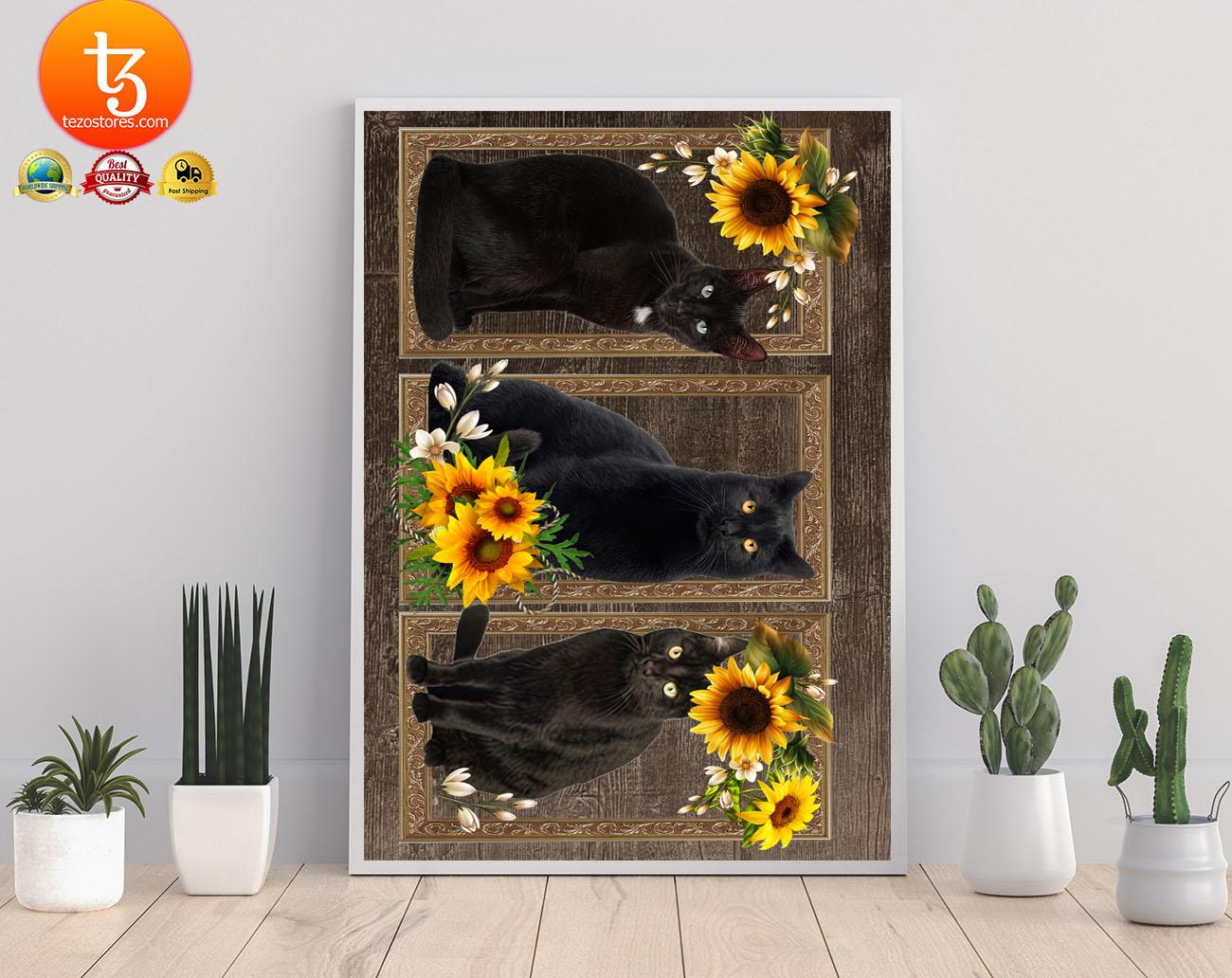 Black cat sunflower frame doormat 21