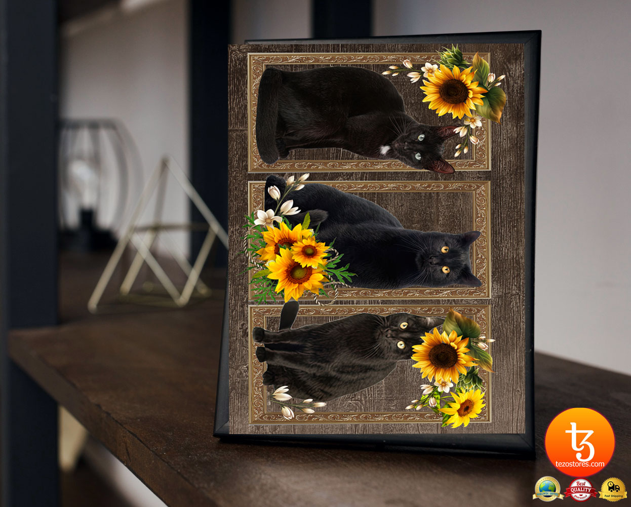 Black cat sunflower frame doormat 19