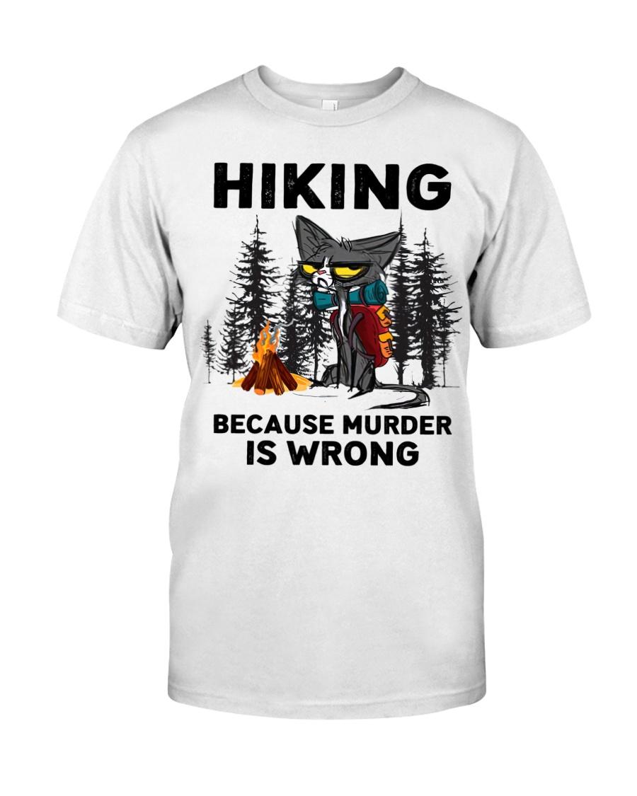 Cat hiking because murder is wrong shirt 2