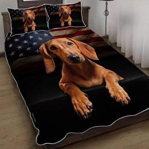 Dachshund American flag bedding set
