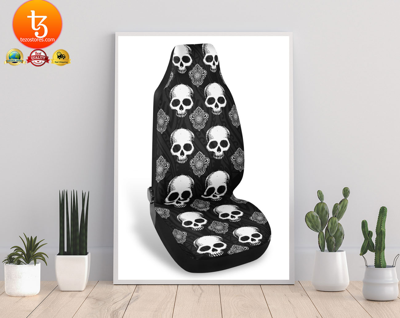 Goth skull car seat covers 21