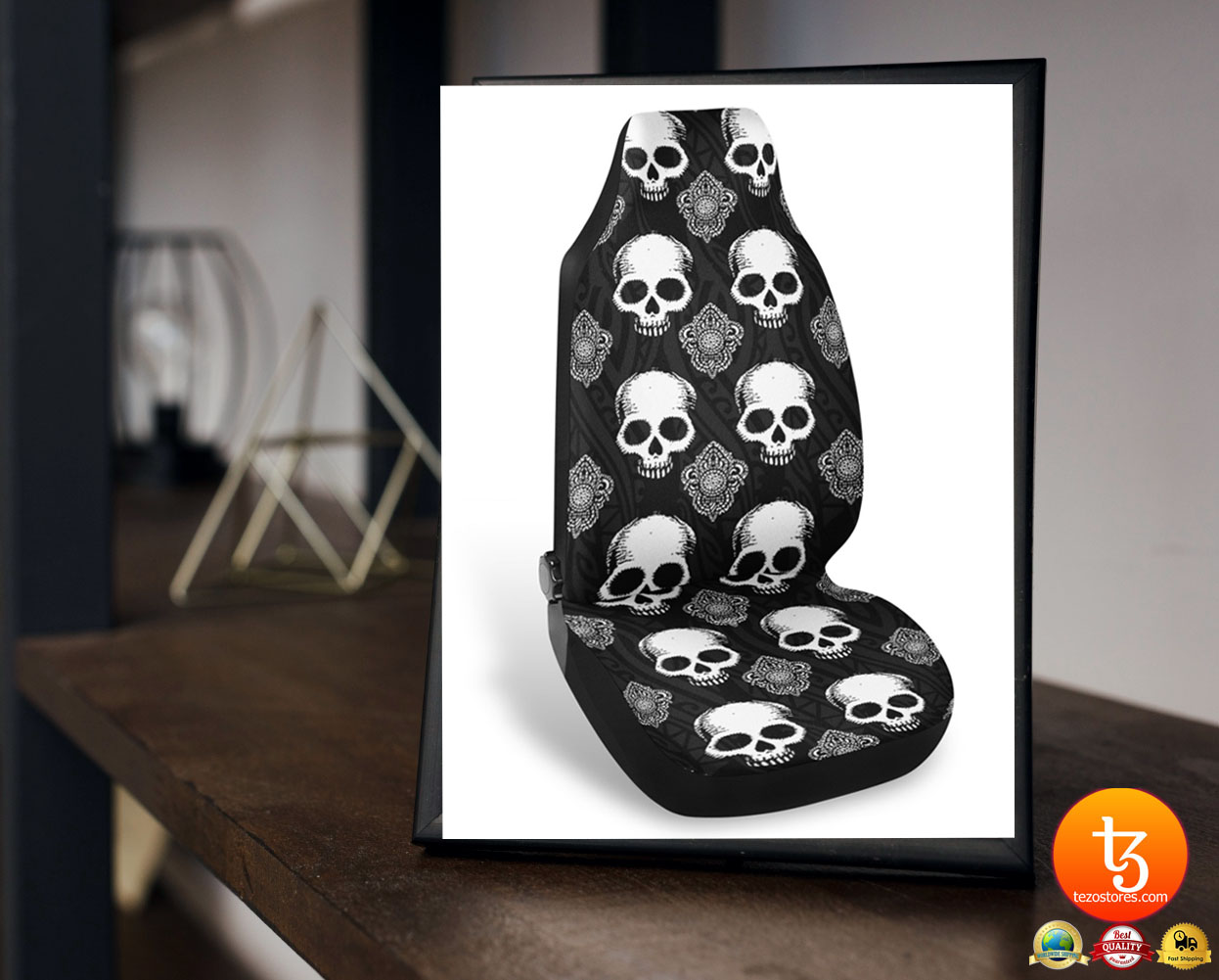 Goth skull car seat covers 23