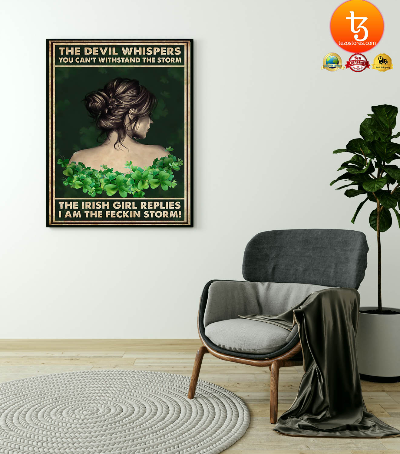 Irish girl the devil whispers you can't withstand the storm poster 23