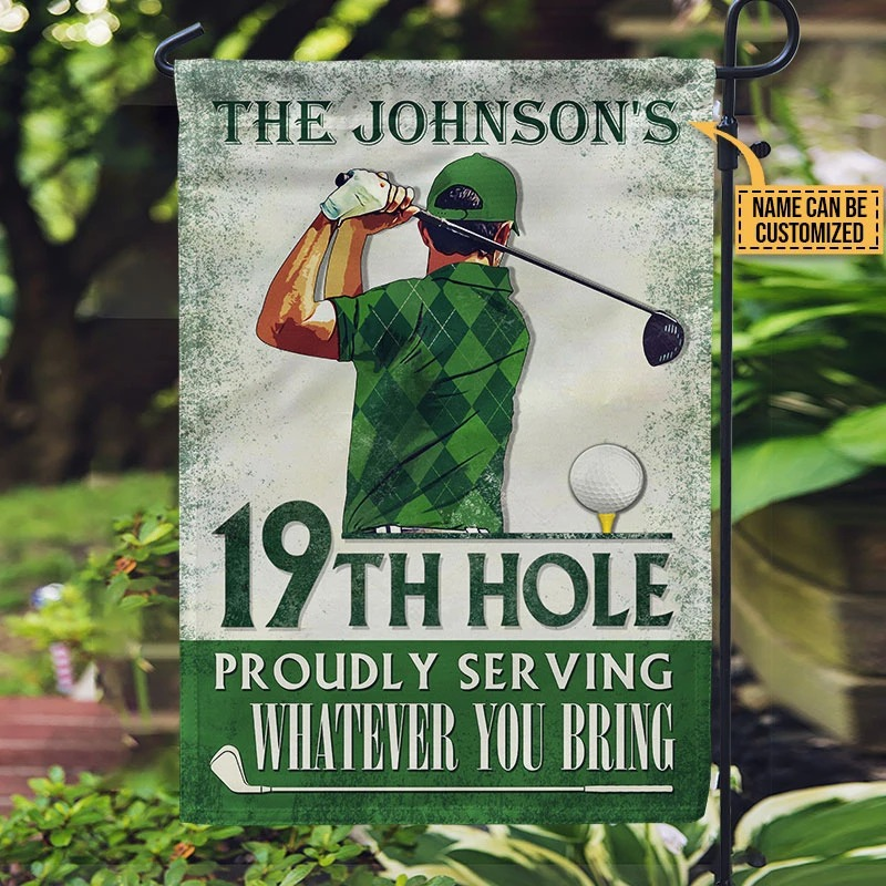19th hole proudly serving whaterver you bring custom name flag1