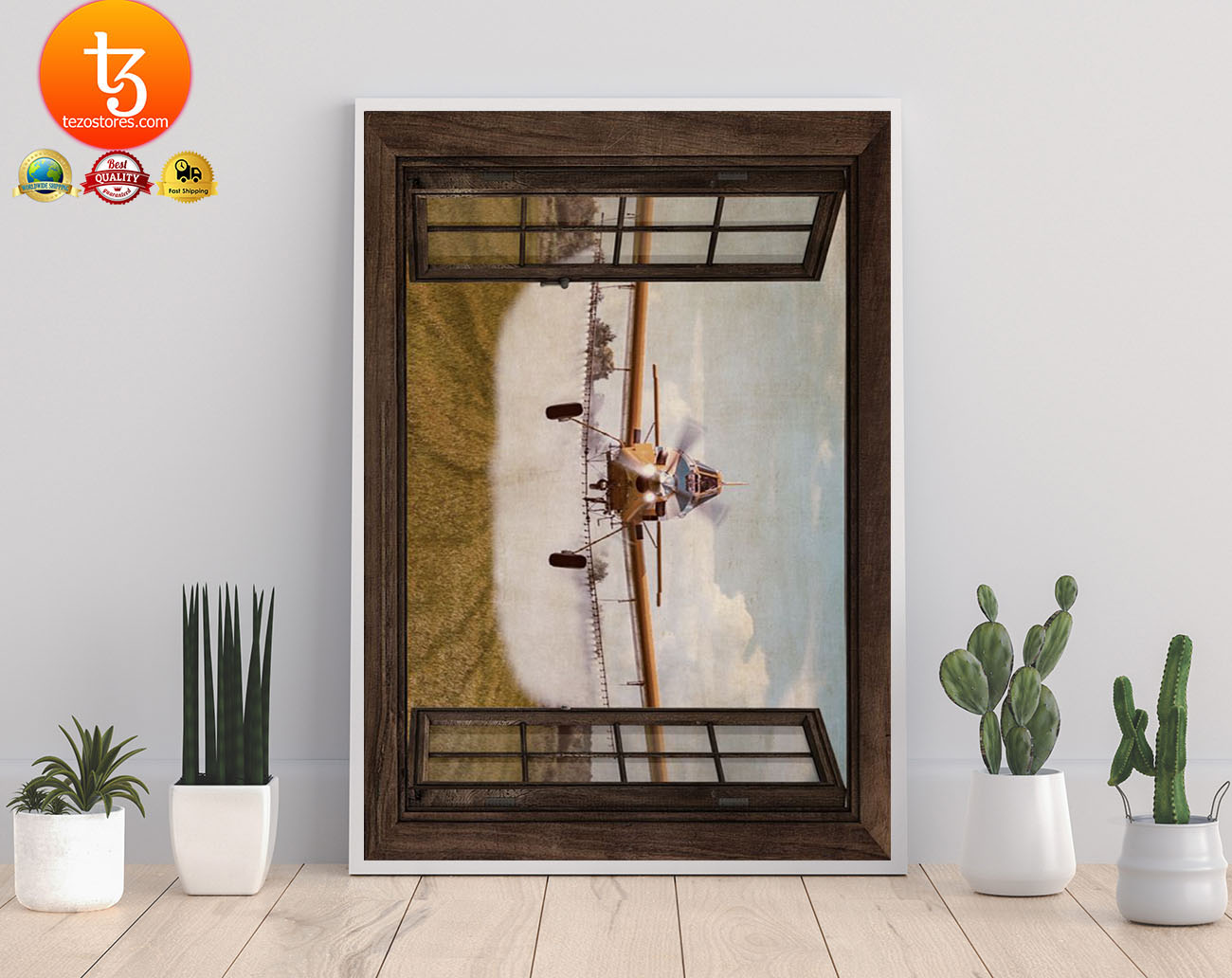 Agricultural aircraft window view poster 3