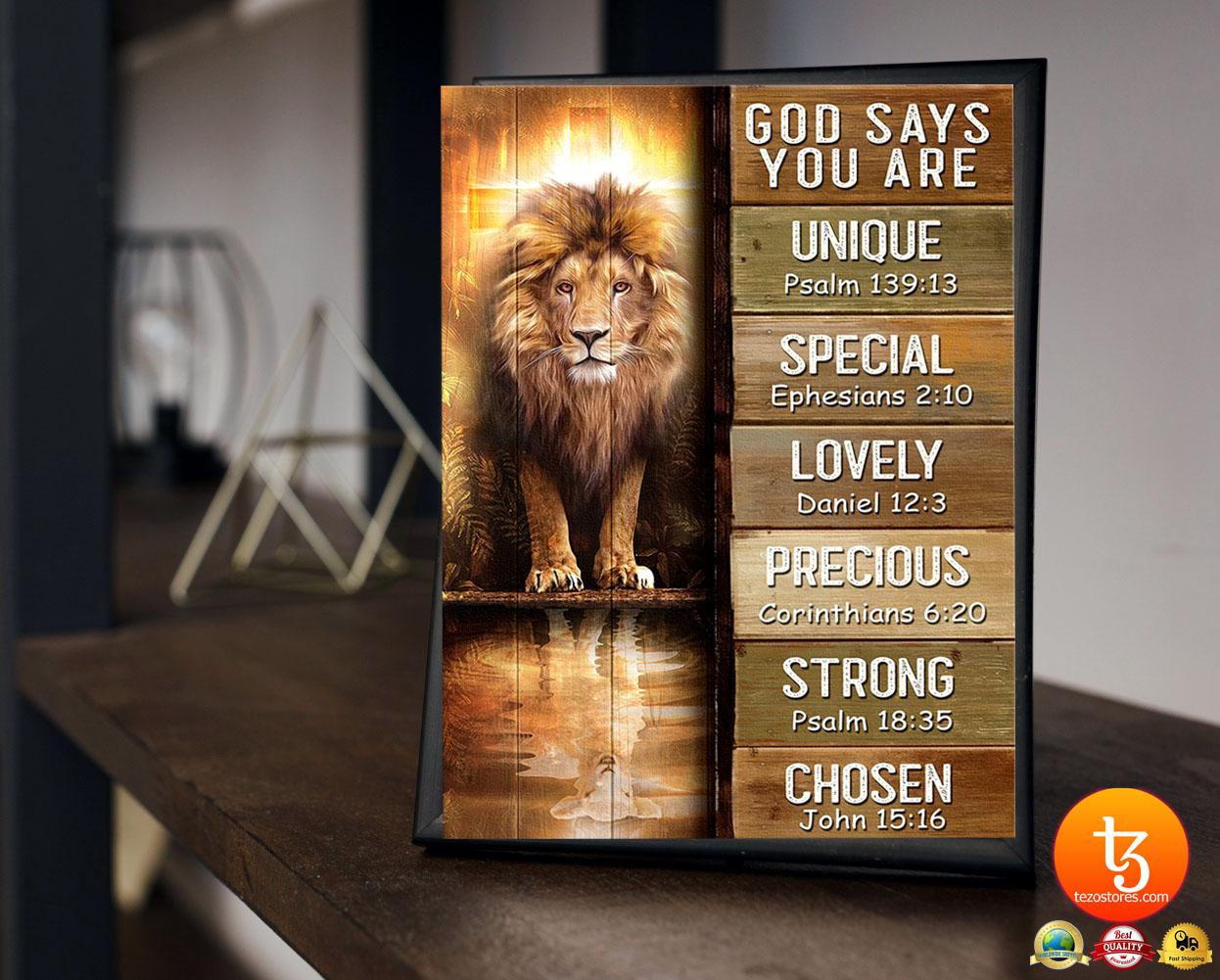 Amazing lion god says you are unique poster 18