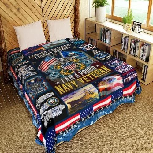 American flag I am a proud Navy veteran quilt bedding set