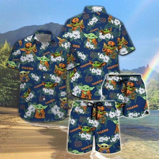 Auburn Tigers And Yoda Hawaiian And Beach Short 1