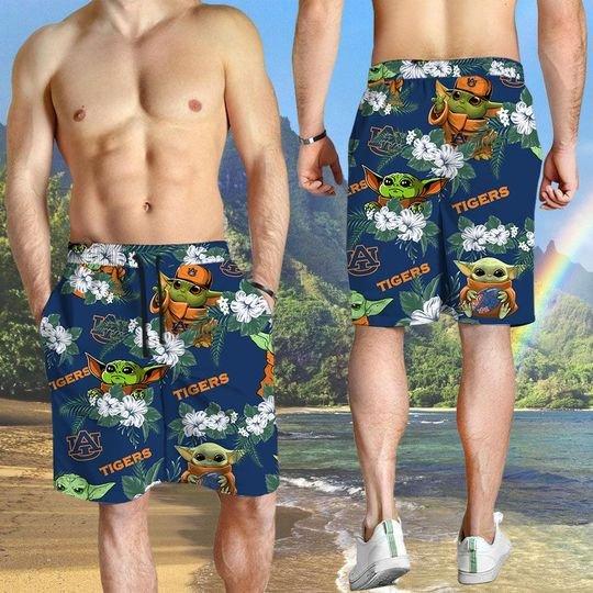 Auburn Tigers And Yoda Hawaiian And Beach Short 3