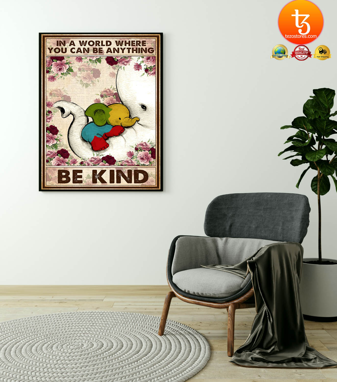 Autism Elephant In a world where you can be anything be kind poster 19