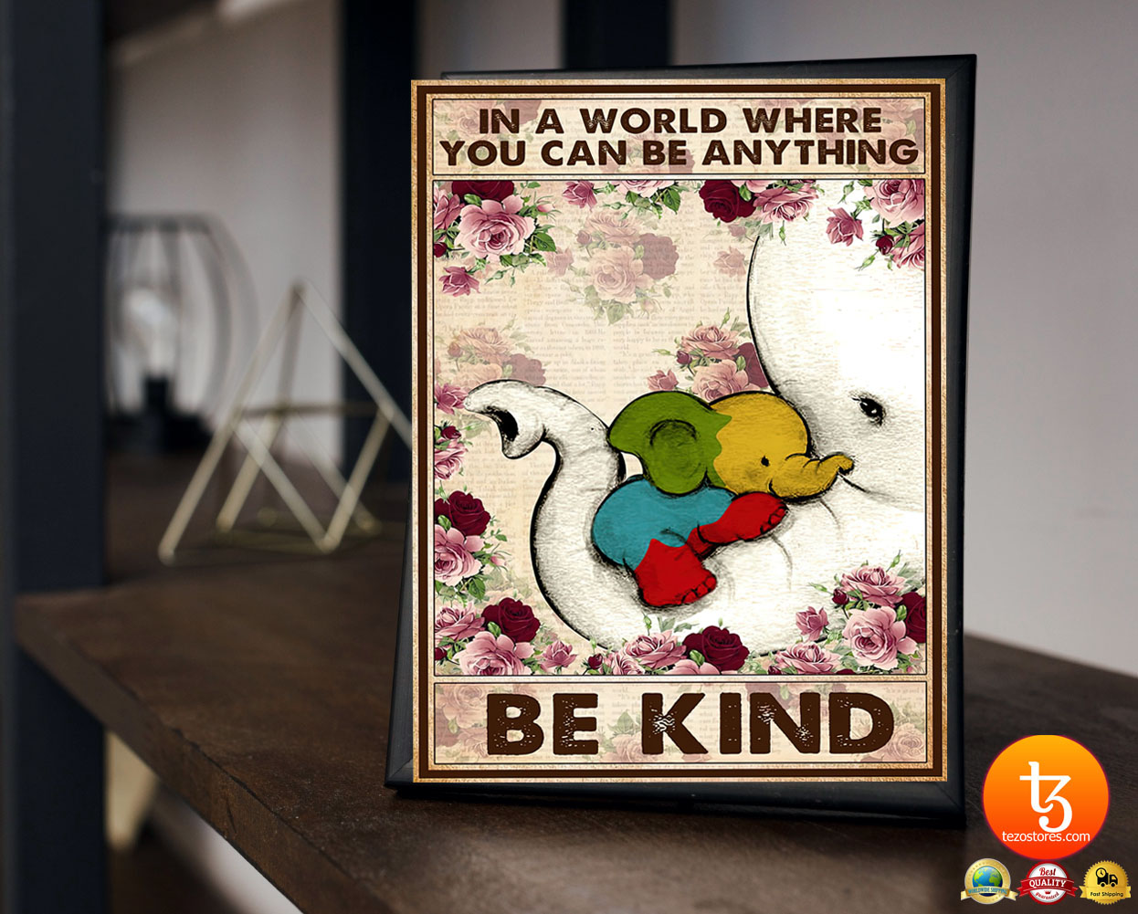 Autism Elephant In a world where you can be anything be kind poster 23