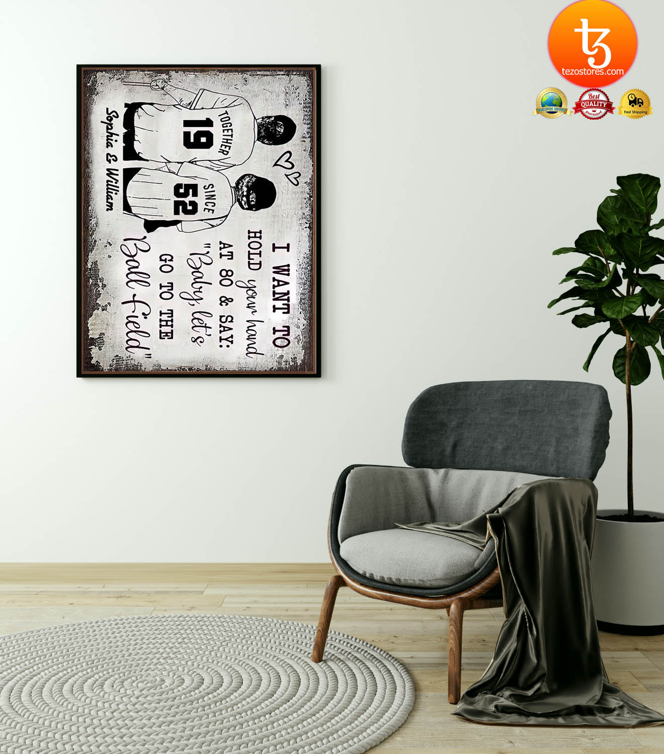 Baseball I want to hold your hand at 80 and say baby let's go to the ball field poster 17