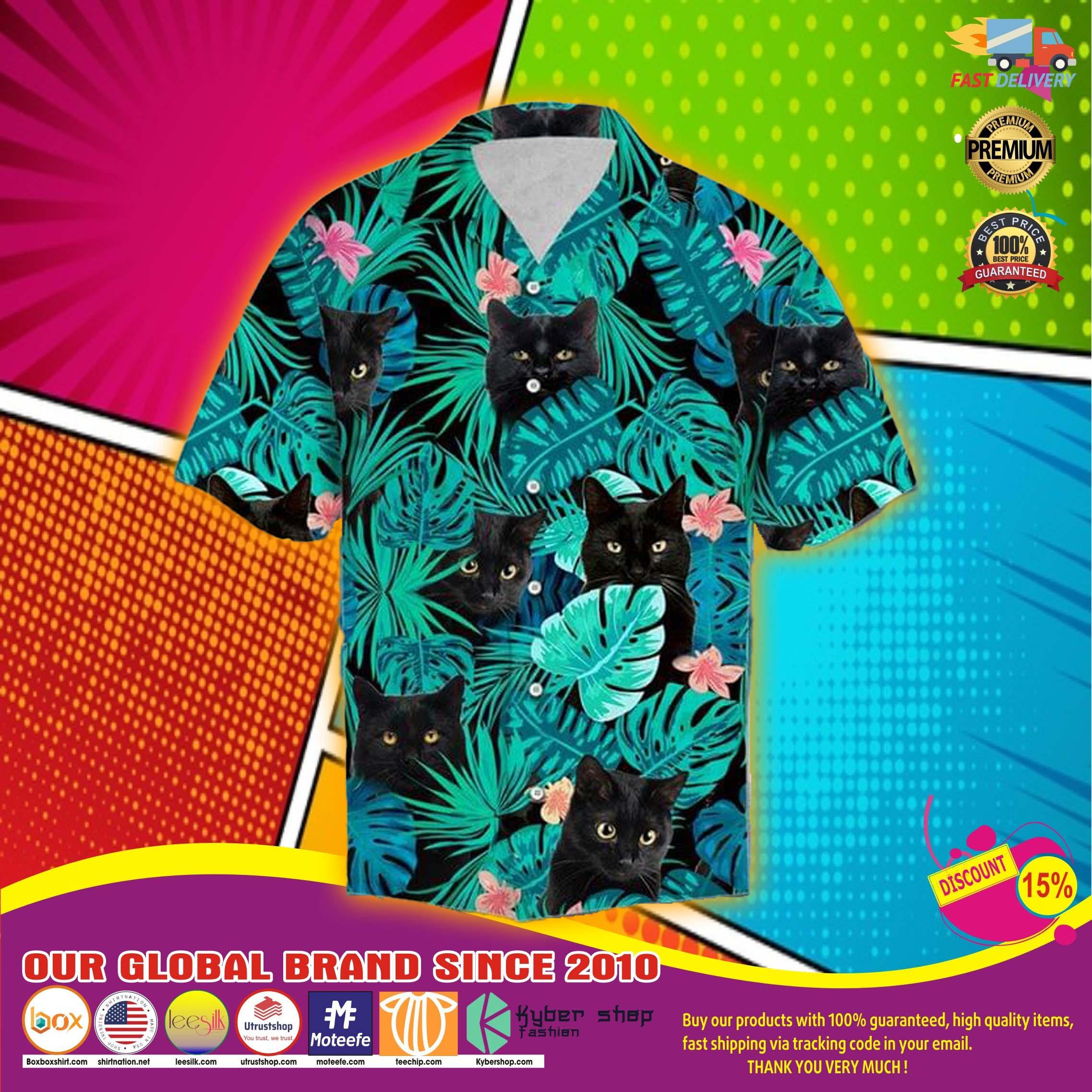 Black cat tropical hawaiian shirt 2