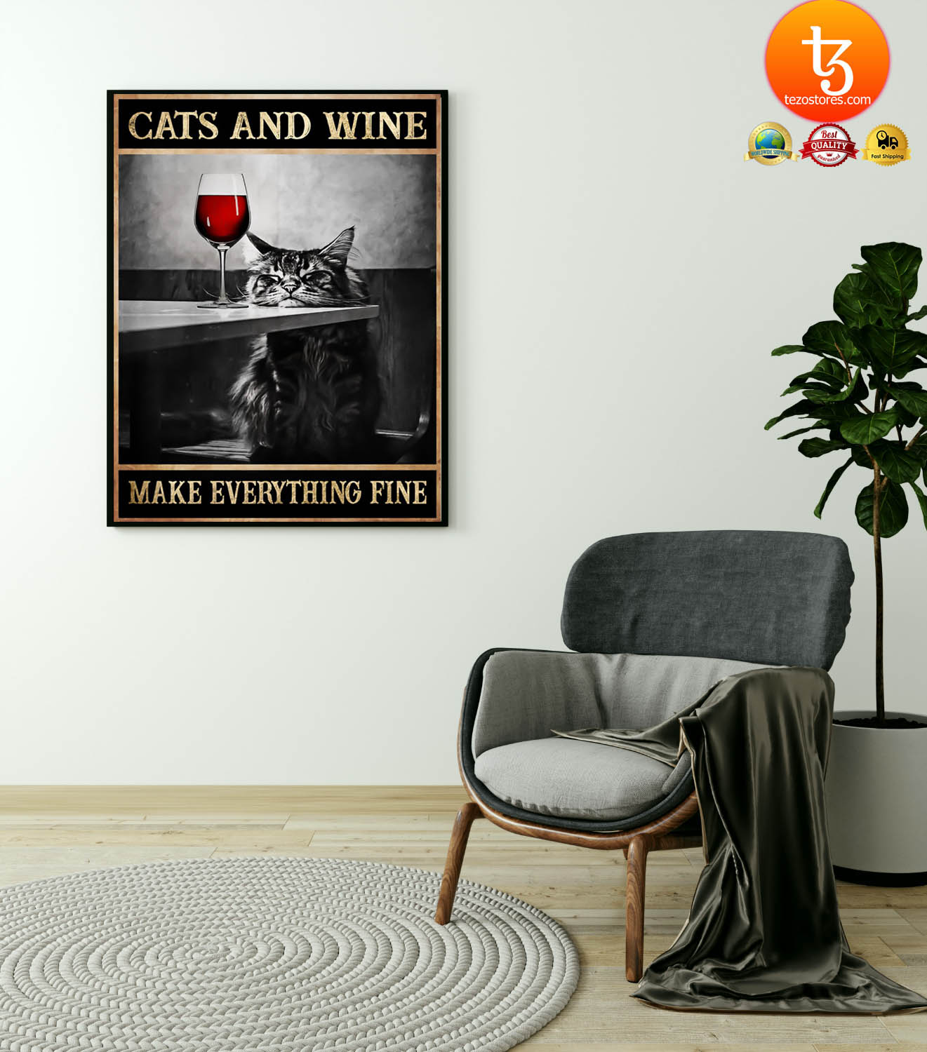 Cats and wine make everything fine poster 4