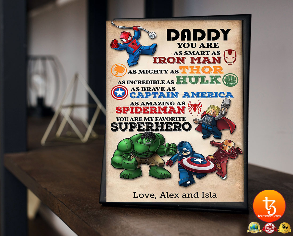 Daddy you are as smart an I ron man as mighty as thor custom name poster 23