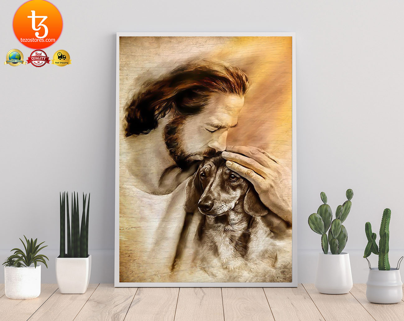 Jesus with lovely dachshund poster 21