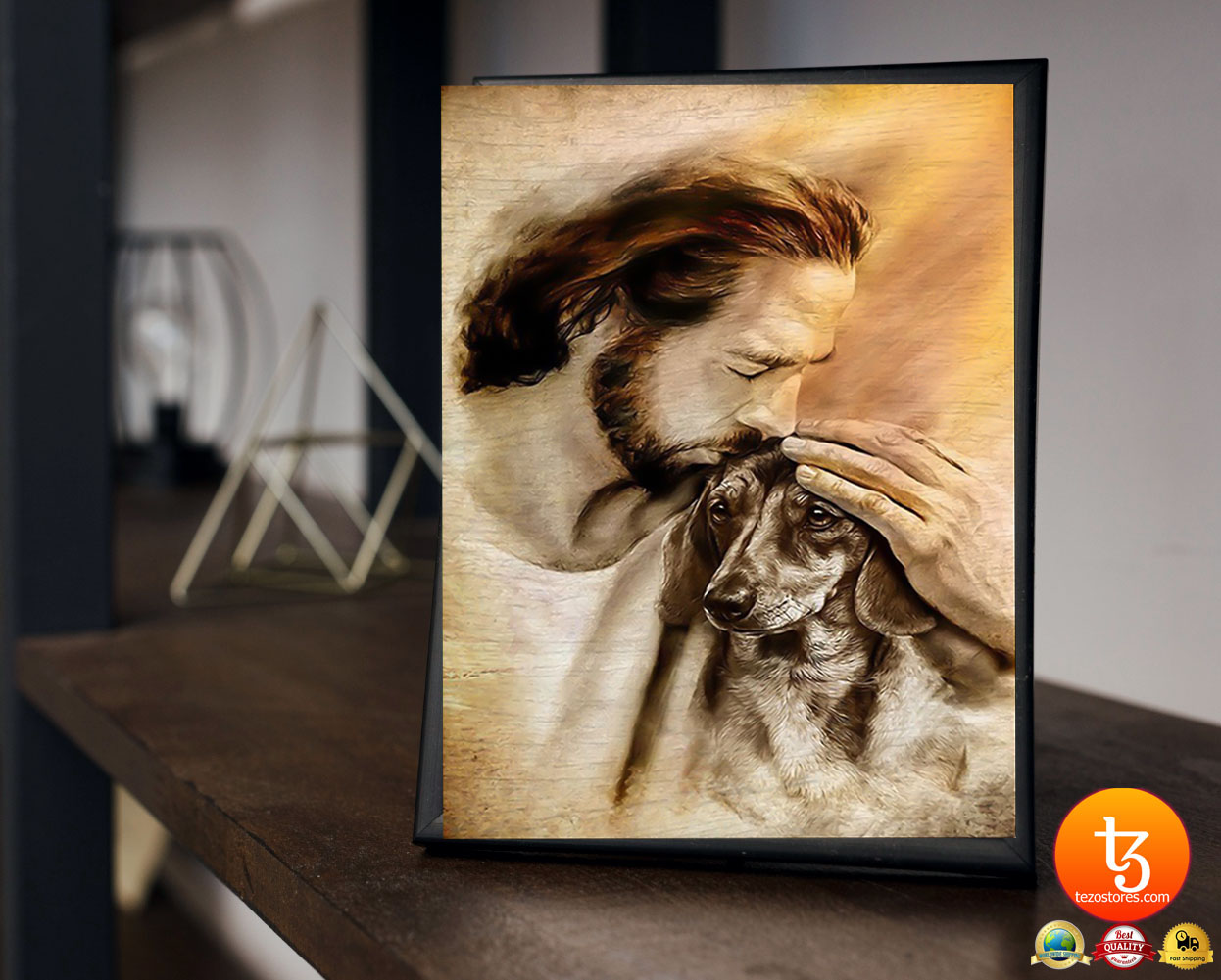 Jesus with lovely dachshund poster 23