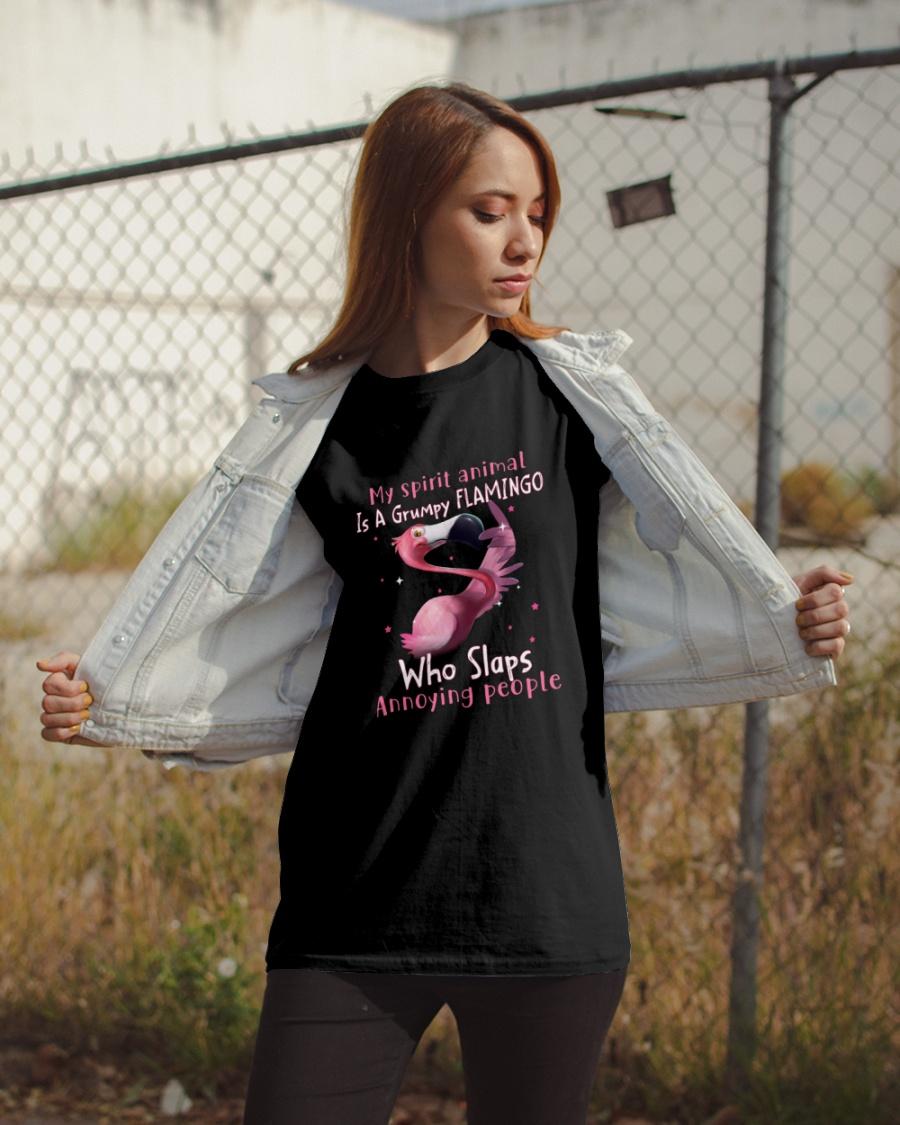 My Spirit Animal Is A Grumpy Flamingo Who Slaps Annoying People Shirt 23