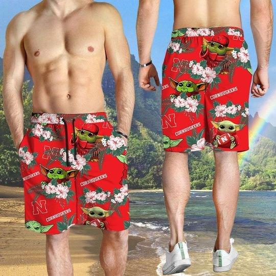 Nebraska Cornhuskers And Yoda Hawaiian And Beach Short 2