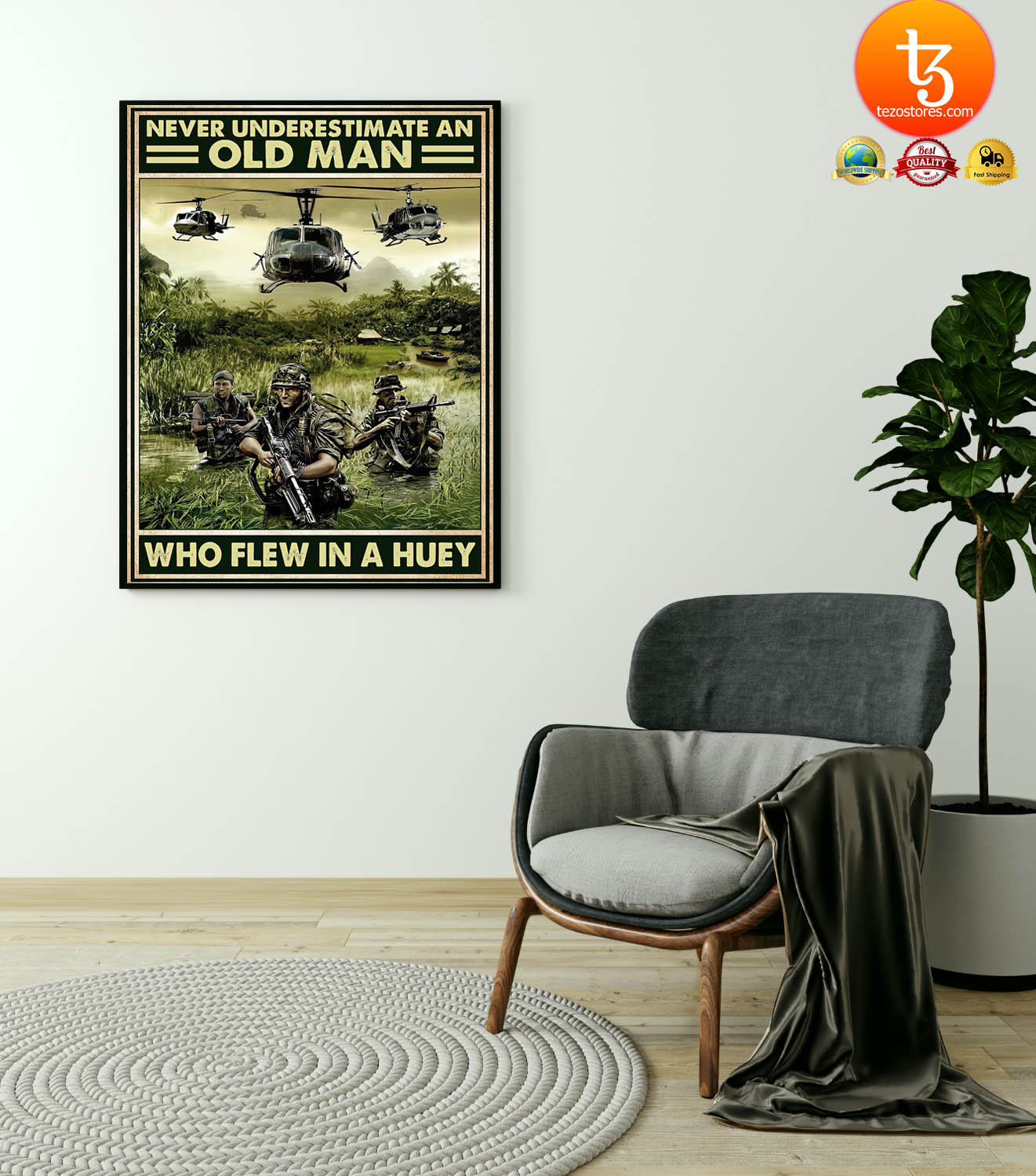 Never underestimate an old man who flew in a huey poster 4