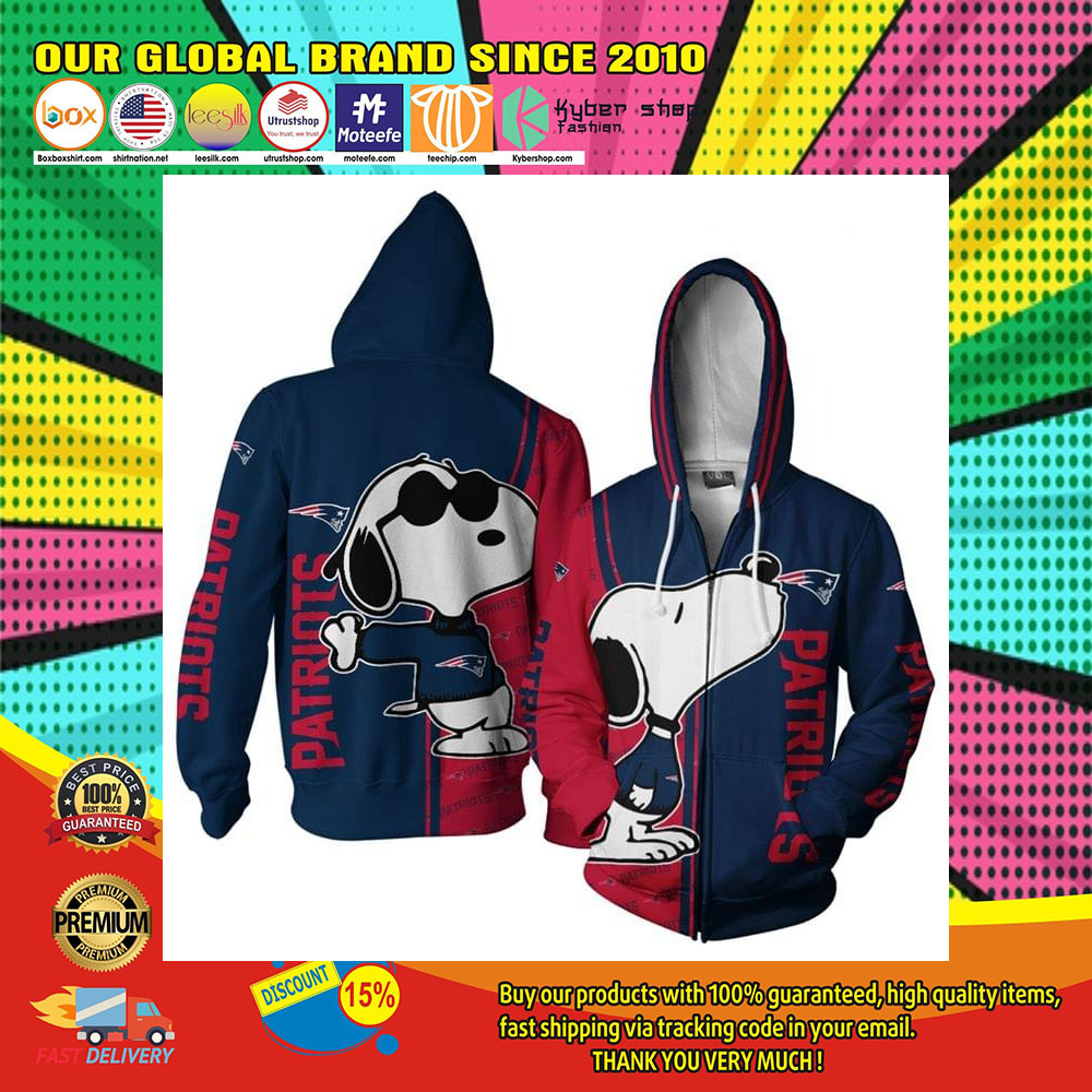New England Patriots Snoopy dog 3D hoodie1