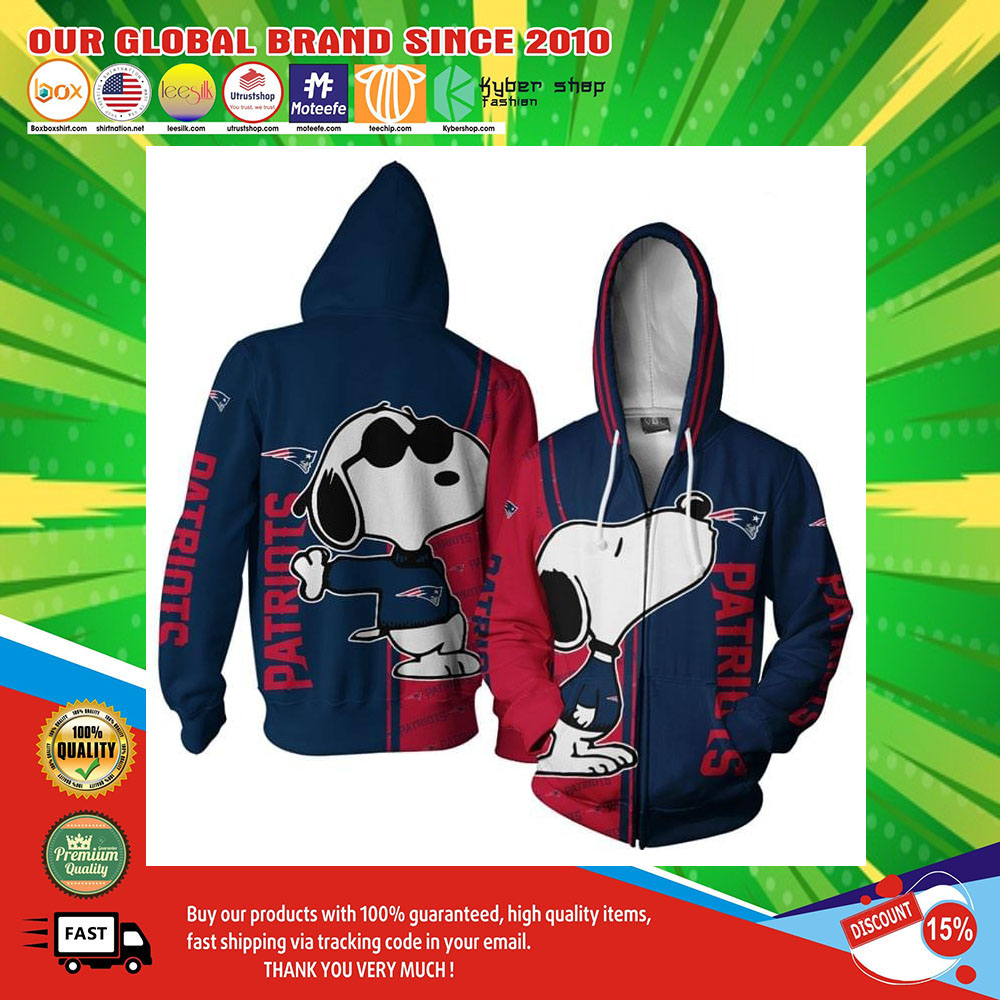 New England Patriots Snoopy dog 3D hoodie2