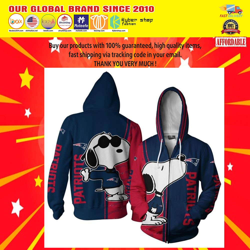 New England Patriots Snoopy dog 3D hoodie5