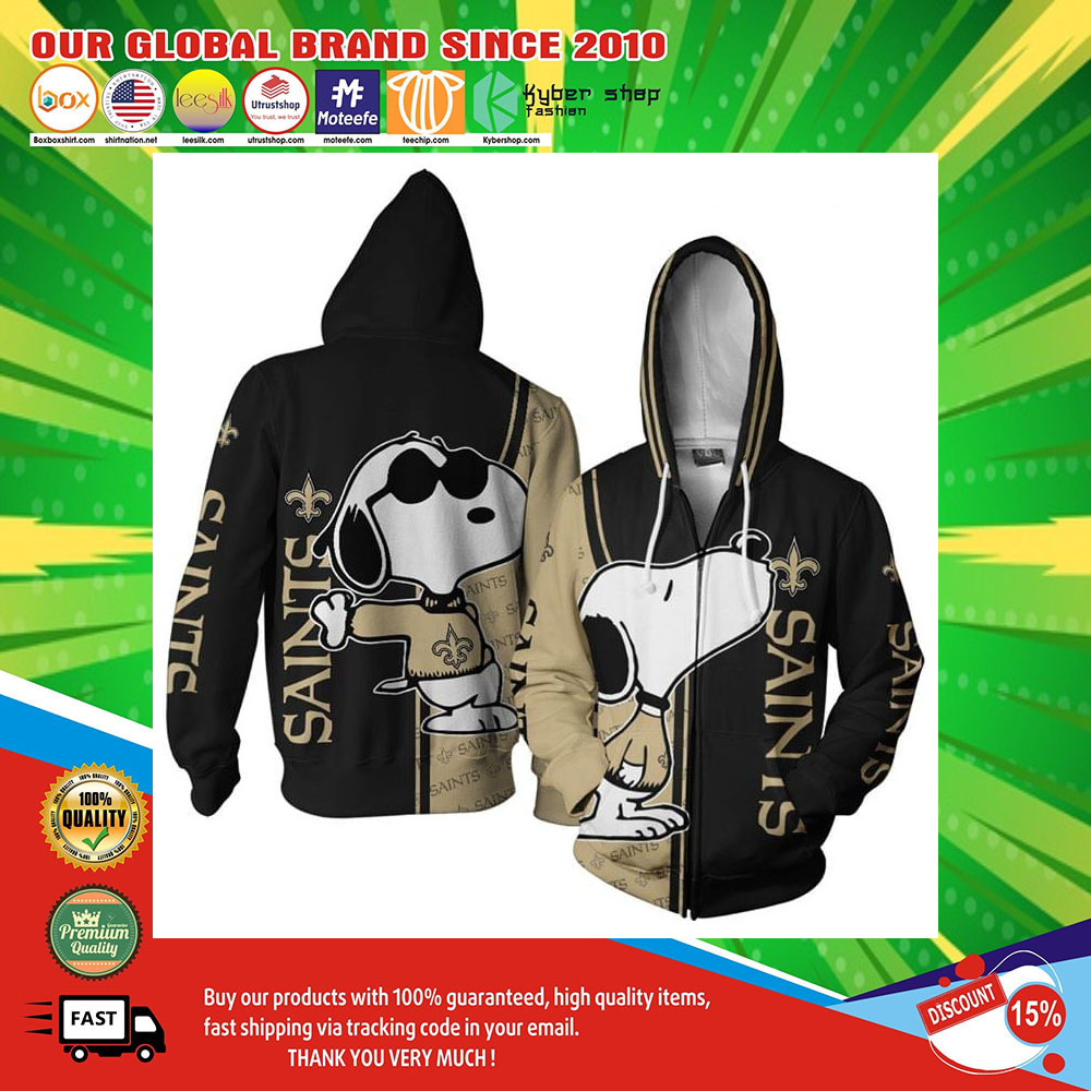 New Orleans Saints Logo Snoopy dog 3d Over Print Hoodie2