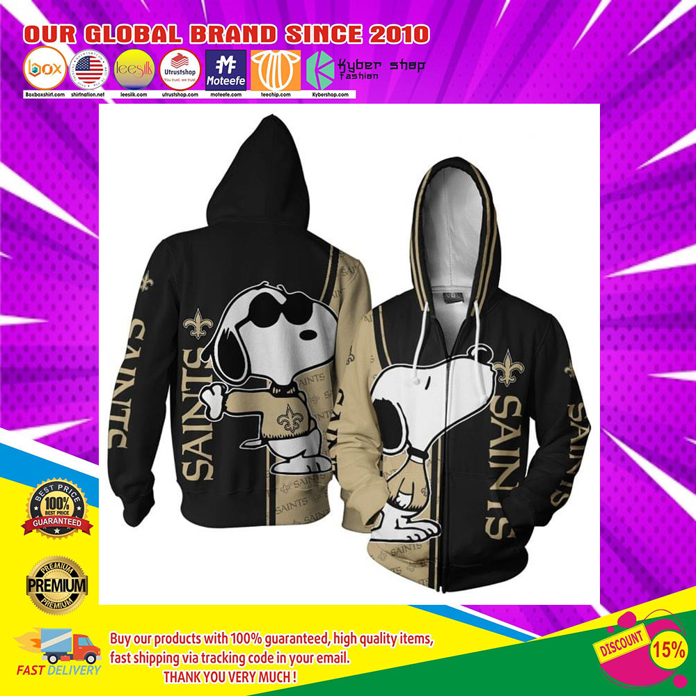 New Orleans Saints Logo Snoopy dog 3d Over Print Hoodie3