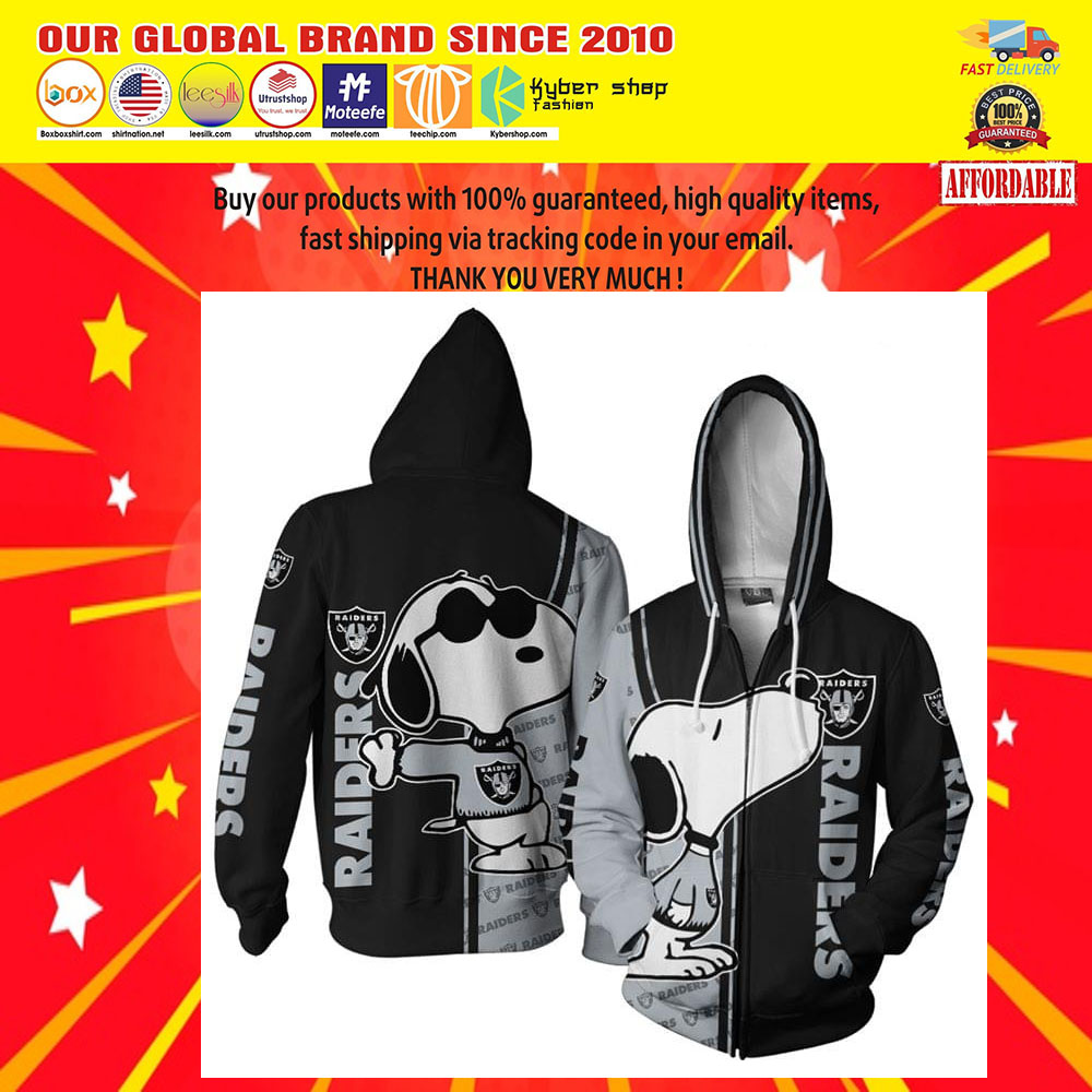 Oakland Raiders Football Snoopy dog 3d Over Print Hoodie5