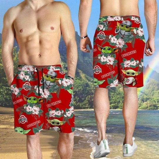 Ohio State Buckeyes And Yoda Hawaiian And Beach Short 4