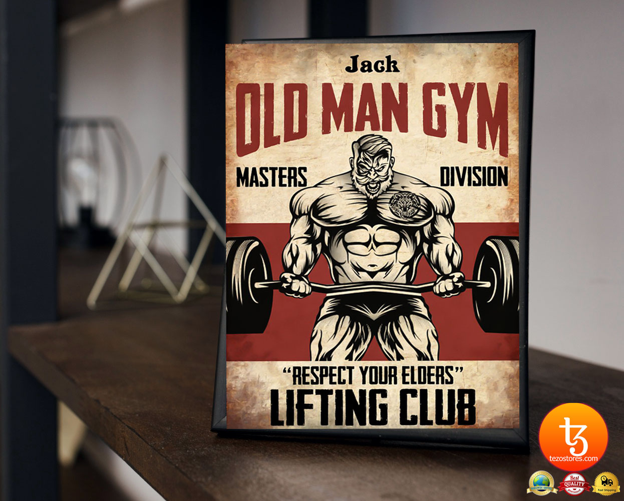Old man gym masters division respect your elders lifting club poster 19