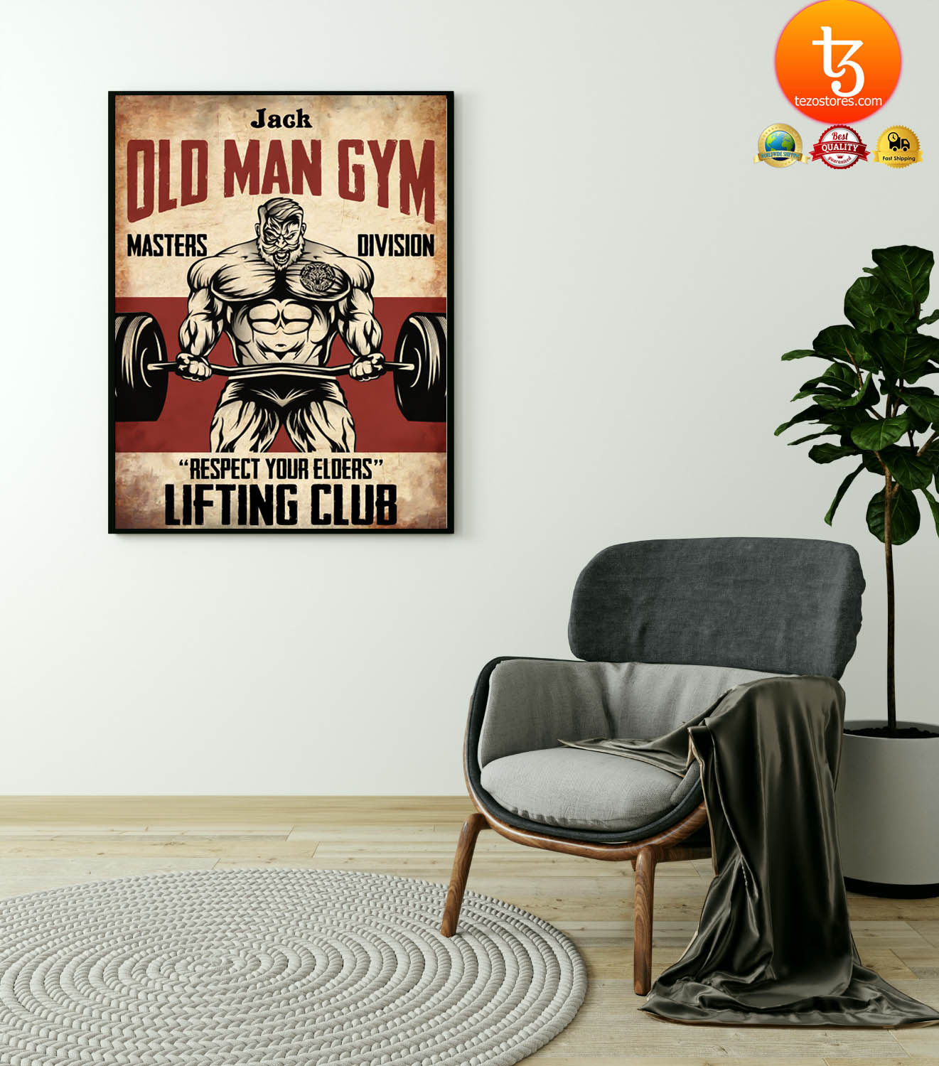 Old man gym masters division respect your elders lifting club poster 17