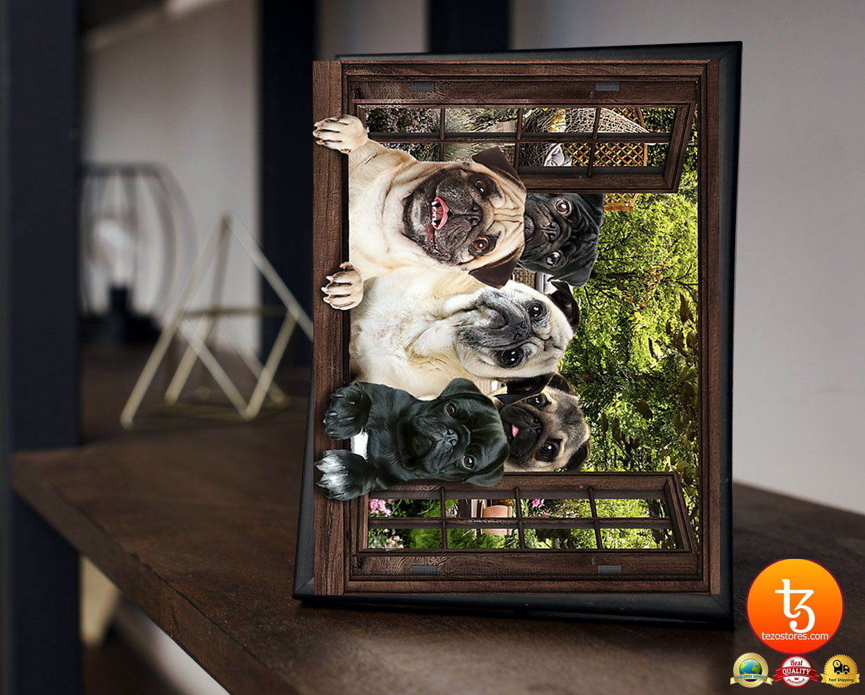 Pugs window 3d poster 17