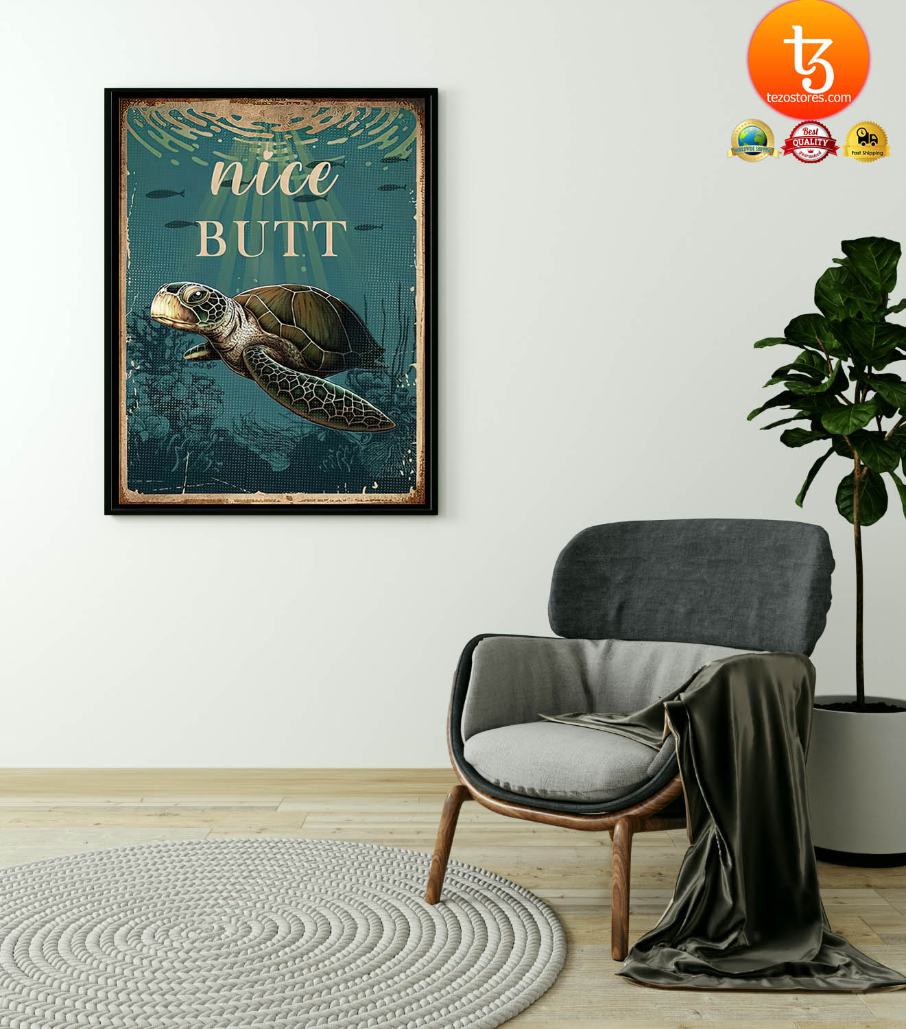 Sea turtle nice butt poster 2