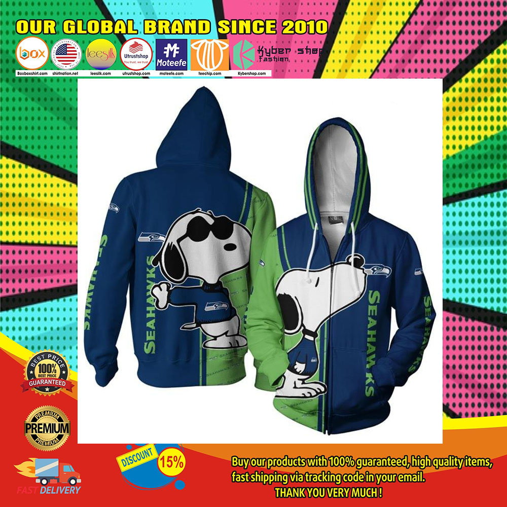 Seattle Seahawks Logo Snoopy dog 3d Over Print Hoodie1