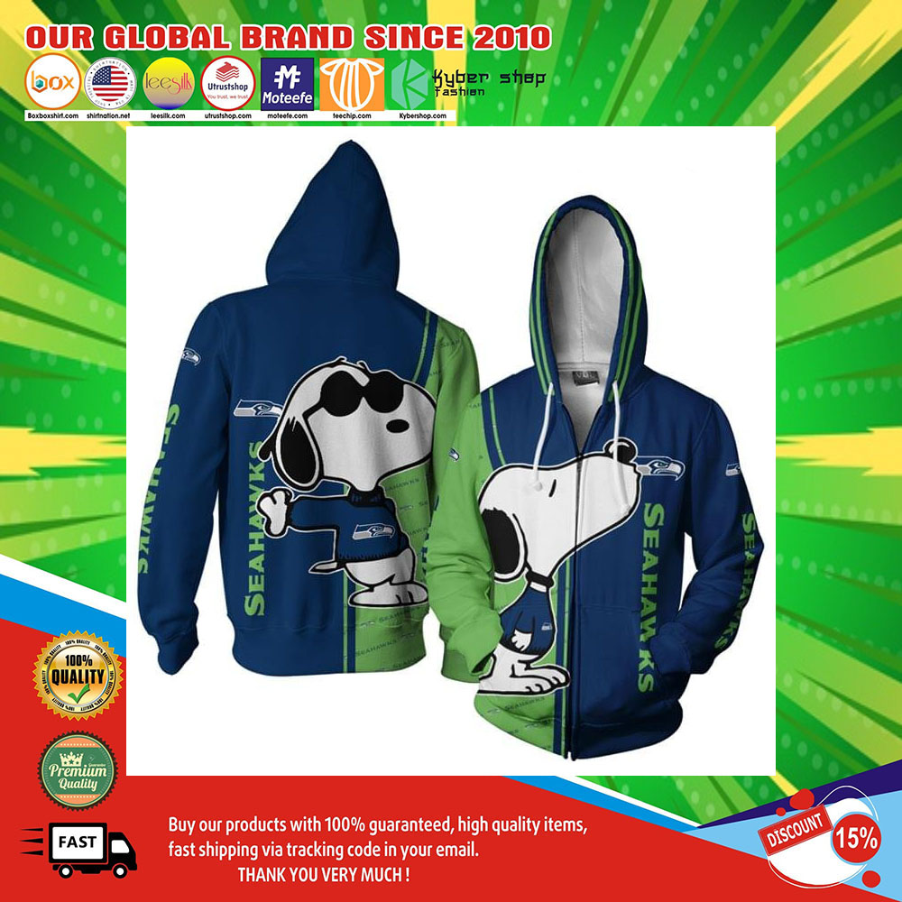 Seattle Seahawks Logo Snoopy dog 3d Over Print Hoodie2