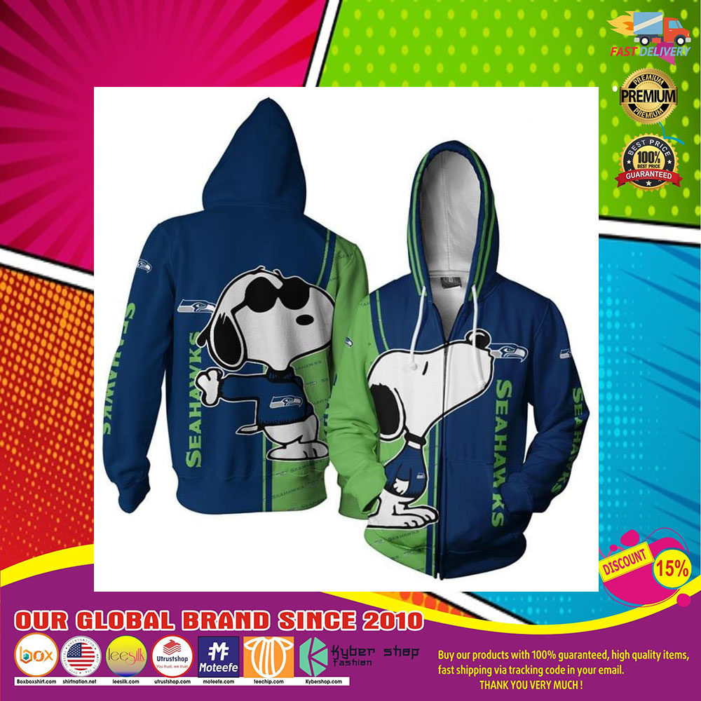Seattle Seahawks Logo Snoopy dog 3d Over Print Hoodie5
