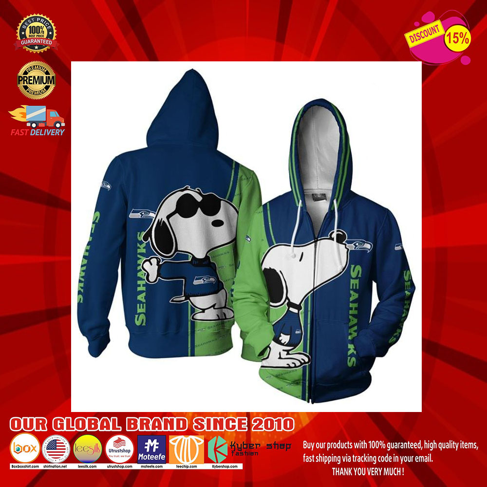 Seattle Seahawks Logo Snoopy dog 3d Over Print Hoodie6