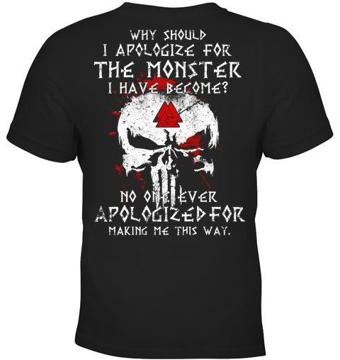 Skull Why Should I Apologize For The Monster Have Become Shirt 4