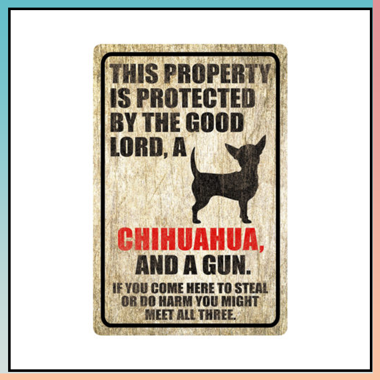 11 This property is protected by good lord a Chihuahua Dog Metal Sign 1 1