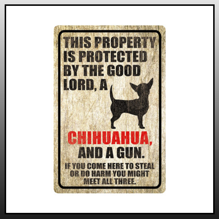 11 This property is protected by good lord a Chihuahua Dog Metal Sign 2 1