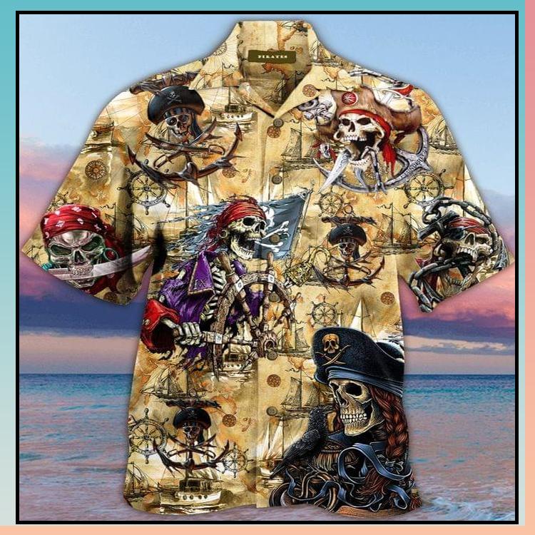 2 Skull Pirate Hawaiian Shirt 4 1
