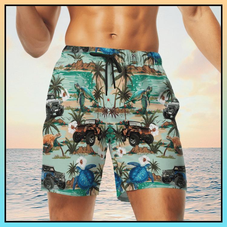 3 Jeep ocean tropical turtle hawaiian shirt and short 2