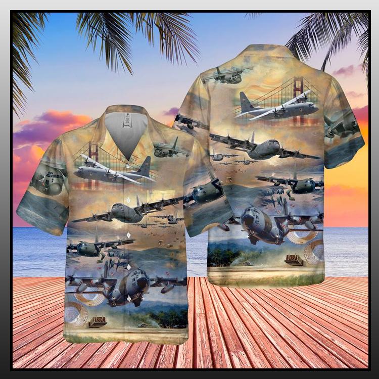 4 Air Force Lockheed C 130 Hercules Pocket Hawaiian Shirt Short1