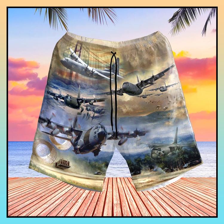4 Air Force Lockheed C 130 Hercules Pocket Hawaiian Shirt Short6