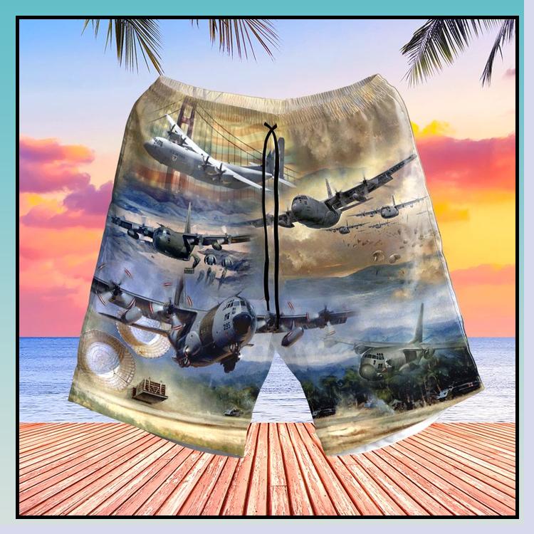 4 Air Force Lockheed C 130 Hercules Pocket Hawaiian Shirt Short7
