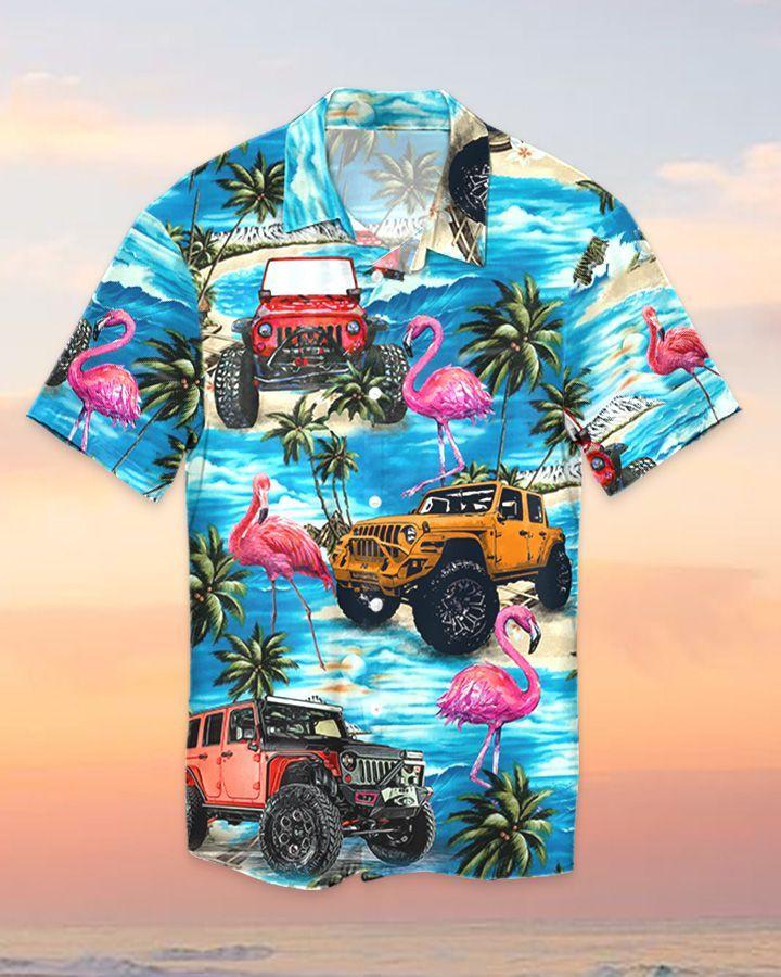 5 Jeep ocean flamingo watercolor hawaiian shirt and short 1