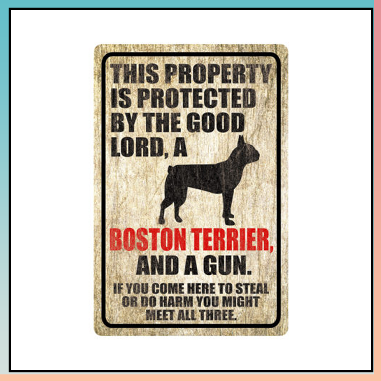 5 This property is protected by good lord a Boston terrier dog Metal Sign 1 1