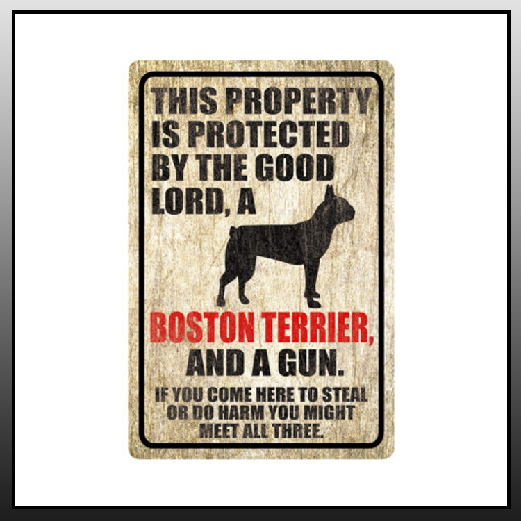 5 This property is protected by good lord a Boston terrier dog Metal Sign 2 1